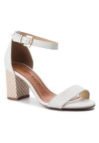 Białe sandały Sergio Bardi na średnim obcasie, na obcasie