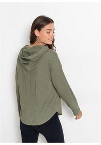 Zielona bluzka bonprix długa, z kapturem