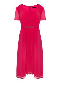 Różowa sukienka Vito Vergelis w kolorowe wzory, na wesele