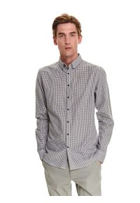 TOP SECRET - Koszula w kratkę z tkaniny typu oxford. Kolor: szary. Materiał: tkanina. Wzór: kratka