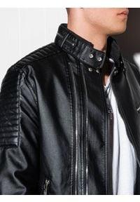 Ombre Clothing - Ramoneska męska C413 - czarna - XXL. Okazja: na co dzień. Typ kołnierza: kołnierzyk stójkowy. Kolor: czarny. Materiał: poliester, materiał. Styl: casual