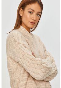 Beżowy sweter rozpinany Answear Lab z długim rękawem, wakacyjny, długi