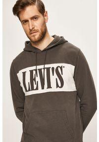 Szara bluza nierozpinana Levi's® na co dzień, casualowa, z aplikacjami, z kapturem
