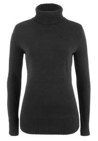 Sweter basic z golfem bonprix czarny. Typ kołnierza: golf. Kolor: czarny. Wzór: prążki