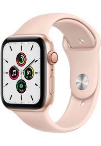 APPLE - Apple smartwach Watch SE Cellular, 44mm Gold Aluminium Case with Pink Sand Sport Band (MYEX2HC/A). Rodzaj zegarka: smartwatch. Kolor: złoty. Styl: sportowy