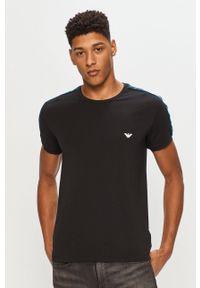 Czarny t-shirt Emporio Armani casualowy, z aplikacjami