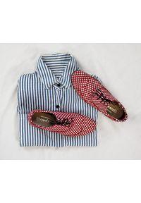 Czerwone półbuty Zapato wąskie, biznesowe, na spotkanie biznesowe, z cholewką
