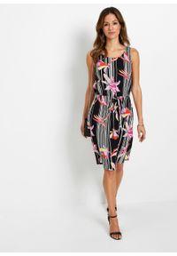 """Sukienka z wiskozy bonprix czarno-różowy """"pinklady"""" w paski. Kolor: czarny. Materiał: wiskoza. Wzór: paski"""