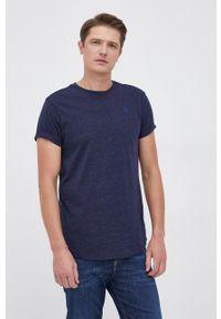 G-Star RAW - G-Star Raw - T-shirt. Okazja: na co dzień. Kolor: niebieski. Materiał: dzianina. Wzór: gładki, aplikacja. Styl: casual