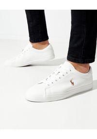 Ralph Lauren - RALPH LAUREN - Białe sneakersy Longwood. Nosek buta: okrągły. Kolor: biały. Materiał: bawełna, guma. Wzór: haft, gładki, kolorowy. Obcas: na płaskiej podeszwie