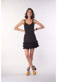Czarna sukienka wizytowa Nommo z falbankami, na ramiączkach, na lato