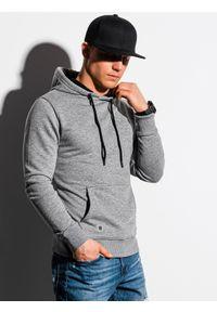 Ombre Clothing - Bluza męska z kapturem B1224 - szary melanż - XXL. Typ kołnierza: kaptur. Kolor: szary. Materiał: poliester, bawełna. Wzór: melanż