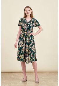 Marie Zélie - Sukienka Eulalia Irises. Długość rękawa: krótki rękaw. Długość: midi
