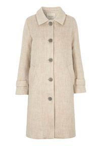Beżowy płaszcz Freequent melanż, elegancki
