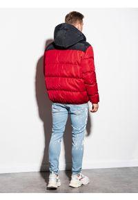 Ombre Clothing - Kurtka męska zimowa pikowana C458 - czerwona - XXL. Kolor: czerwony. Materiał: poliester. Sezon: zima