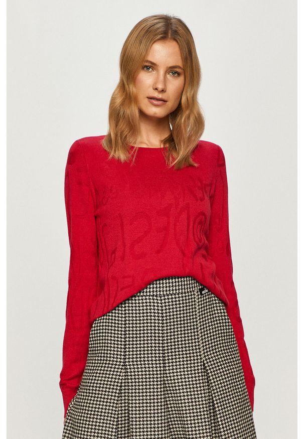 Różowy sweter Desigual na co dzień, casualowy, z długim rękawem, długi