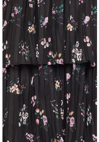 Czarna sukienka Miss Sixty w kwiaty, z dekoltem typu hiszpanka