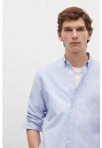 Niebieska koszula Mango Man gładkie, na co dzień, button down