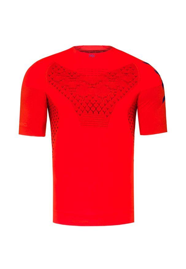 Pomarańczowa koszulka termoaktywna X-Bionic z krótkim rękawem, z asymetrycznym kołnierzem