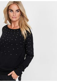 Długi sweter z połyskującymi kamieniami bonprix czarny. Kolor: czarny. Długość: długie