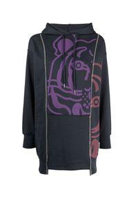 Kenzo - KENZO - Sukienka dresowa z graficznym nadrukiem. Kolor: niebieski. Materiał: dresówka. Długość rękawa: długi rękaw. Wzór: nadruk. Długość: mini