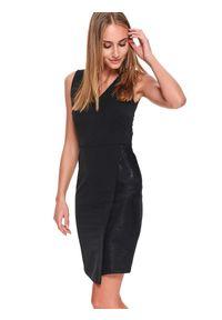 Czarna sukienka TOP SECRET bez rękawów, z dekoltem na plecach, na jesień, elegancka