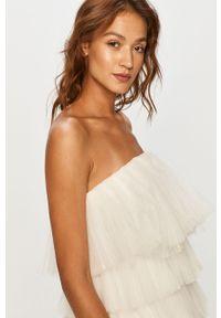 Biała sukienka Miss Sixty na ramiączkach, mini, z dekoltem karo
