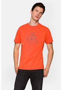 Lancerto - Koszulka Łososiowa Leon. Okazja: na co dzień. Kolor: różowy. Materiał: włókno, materiał, bawełna. Wzór: aplikacja, nadruk. Styl: klasyczny, casual, retro