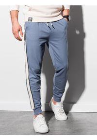 Ombre Clothing - Spodnie męskie dresowe joggery P951 - niebieskie - XXL. Kolor: niebieski. Materiał: dresówka