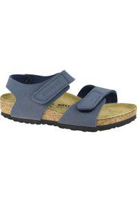 Niebieskie sandały Birkenstock w kolorowe wzory, sportowe