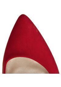 Czerwone półbuty Baldaccini z cholewką, na średnim obcasie