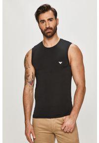 Czarny t-shirt Emporio Armani gładki #4