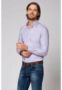 Różowa koszula Lancerto na spotkanie biznesowe, casualowa, w kratkę