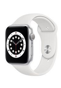 APPLE - Smartwatch Apple Watch 6 GPS 44mm aluminium, srebrny | biały pasek sportowy. Rodzaj zegarka: smartwatch. Kolor: srebrny, biały, wielokolorowy. Styl: sportowy