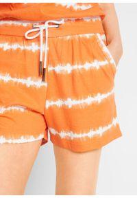 Kombinezon bawełniany bandeau, krótkie nogawki bonprix pomarańczowo-biały. Kolor: pomarańczowy. Materiał: bawełna. Długość: krótkie