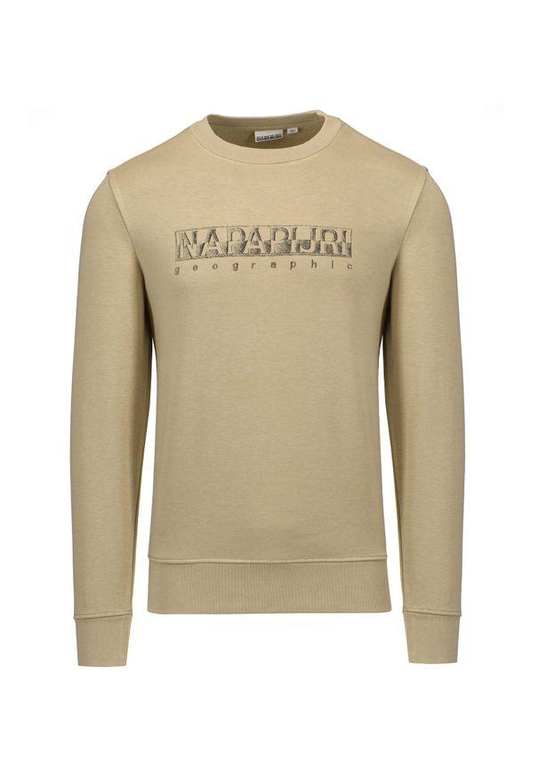 Napapijri - Bluza NAPAPIJRI BALLAR C. Kolor: beżowy. Materiał: bawełna, dzianina, materiał, syntetyk, prążkowany, włókno