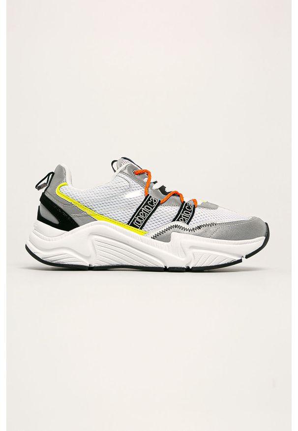 Białe sneakersy ROBERTO CAVALLI SPORT z okrągłym noskiem, na sznurówki