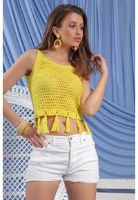 Fobya - Ażurowy Top na Ramiączkach z Frędzlami - Lemon. Materiał: bawełna. Długość rękawa: na ramiączkach. Wzór: ażurowy