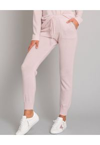 HEMISPHERE - Różowe spodnie z kaszmiru. Kolor: różowy, fioletowy, wielokolorowy. Materiał: kaszmir