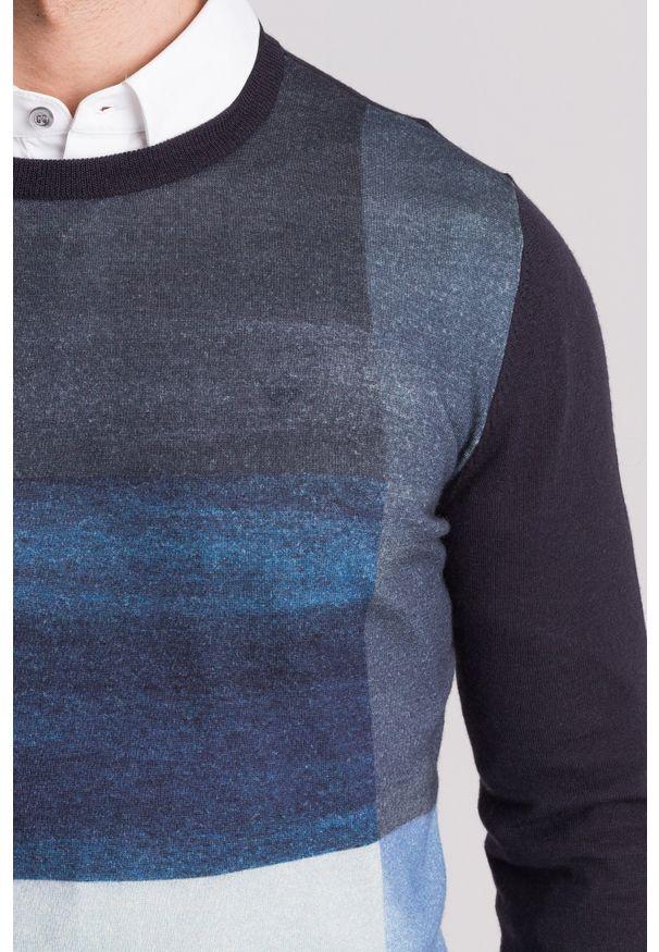 Wielokolorowy sweter Emporio Armani z okrągłym kołnierzem, młodzieżowy