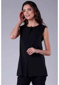 Nommo - Czarna Koszula bez Rękawów z Krytym Zapięciem. Kolor: czarny. Materiał: wiskoza, poliester. Długość rękawa: bez rękawów