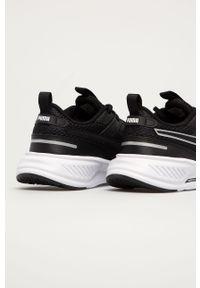 Czarne buty sportowe Puma na sznurówki, z okrągłym noskiem, z cholewką