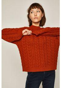 medicine - Medicine - Sweter Basic. Okazja: na co dzień. Kolor: pomarańczowy. Materiał: dzianina. Długość rękawa: raglanowy rękaw. Wzór: ze splotem, gładki. Styl: casual