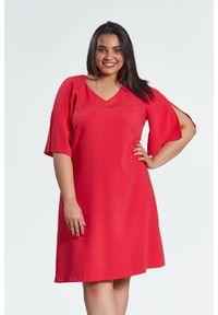 Pomarańczowa sukienka dla puszystych Moda Size Plus Iwanek klasyczna, z klasycznym kołnierzykiem