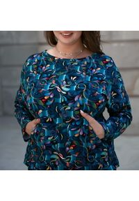 Bluza Moda Size Plus Iwanek krótka, na jesień, w kolorowe wzory