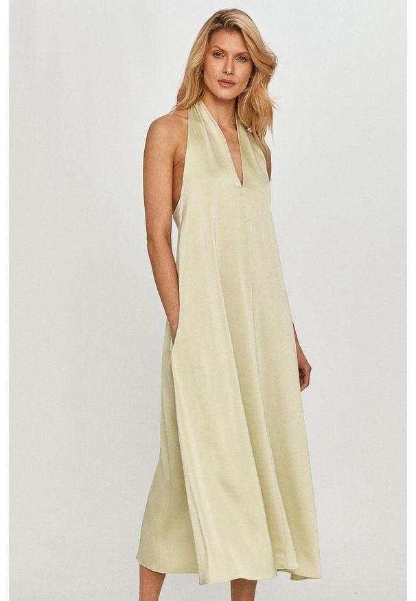 Samsoe & Samsoe - Samsoe Samsoe - Sukienka. Kolor: zielony. Materiał: tkanina, poliester. Wzór: gładki. Typ sukienki: rozkloszowane