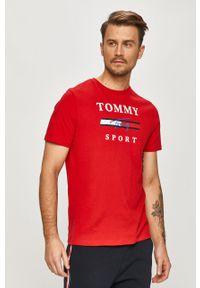 Czerwony t-shirt Tommy Sport z nadrukiem, sportowy, na co dzień