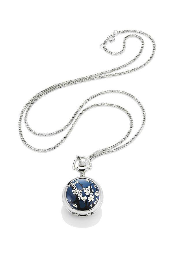 Zegarek na łańcuszku bonprix srebrno-niebieski w kwiaty