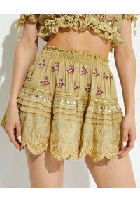 GADO GADO - Haftowana oliwkowa spódnica. Stan: podwyższony. Kolor: zielony. Wzór: haft