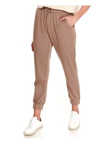 Beżowe spodnie TOP SECRET w kolorowe wzory, długie
